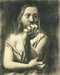Bust of a Woman - drawing, Picasso Anxiety eats up the pleasure in living.
